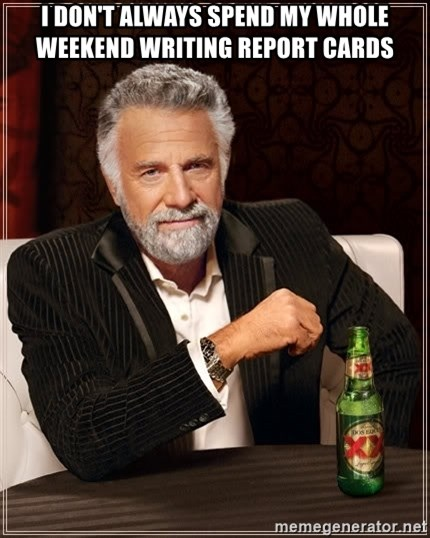 The Most Interesting Man In The World - I don't always spend my whole weekend writing report cards