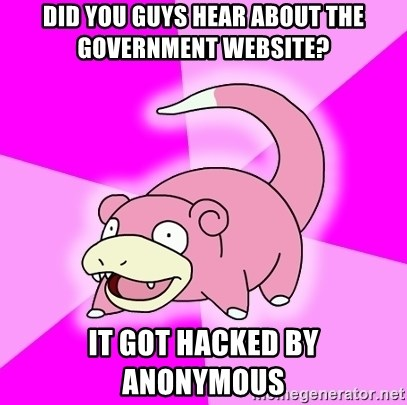 Slowpoke - did you guys hear about the government website? it got hacked by anonymous