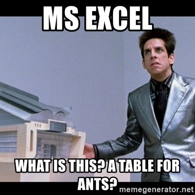 Zoolander for Ants - MS Excel What is this? a Table for Ants?