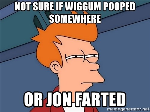 Futurama Fry - not sure if Wiggum pooped somewhere  or Jon farted
