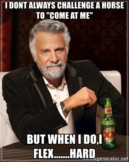 """The Most Interesting Man In The World - I Dont always challenge a horse to """"Come at me"""" But When I do,I flex.......HARD"""