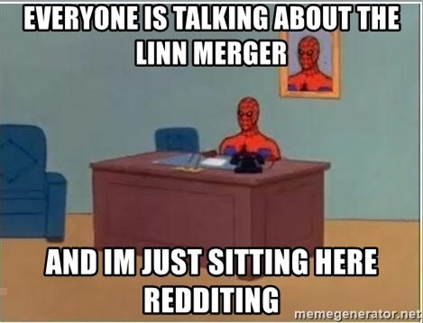 Spiderman Desk - Everyone is talking about the linn merger and im just sitting here redditing