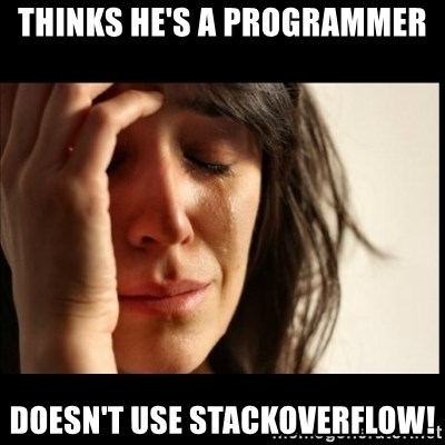 First World Problems - Thinks he's a programmer Doesn't use stackoverflow!