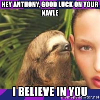 Perverted Whispering Sloth  - hey anthony, good luck on your navle i believe in you