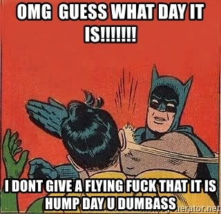batman slap robin - OMg  guess what day it is!!!!!!! I dont give a flying Fuck that it is hump day u dumbass