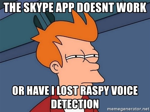 Futurama Fry - The skype app doesnt work or have i lost raspy voice detection