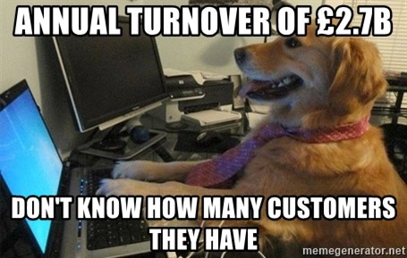 I have no idea what I'm doing - Dog with Tie - Annual turnover of £2.7b Don't know how many customers they have