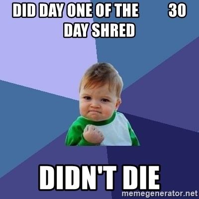 Success Kid - Did day one of the          30 day shred didn't die