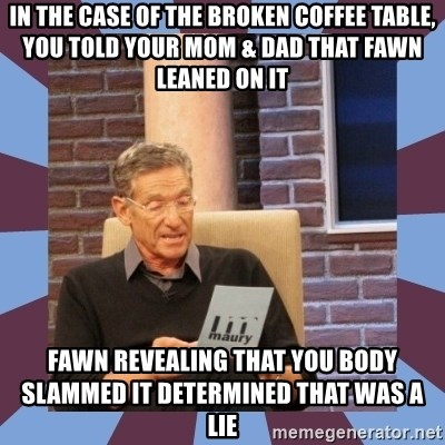 maury povich lol - In the case of the broken coffee table, you told your mom & dad that fawn leaned on it fawn revealing that you body slammed it determined that was a lie