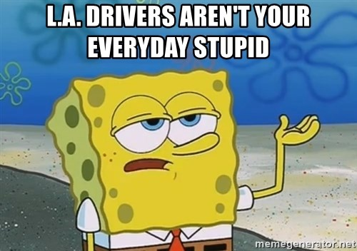 I'll have you know Spongebob - L.A. drivers aren't your everyday stupid