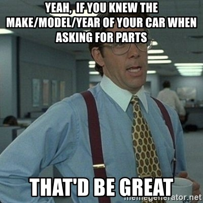 Yeah that'd be great... - Yeah,  if you knew the make/model/year of your car when asking for Parts that'd be great