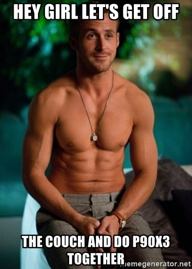 Shirtless Ryan Gosling - hey girl let's get off the couch and do p90x3 together