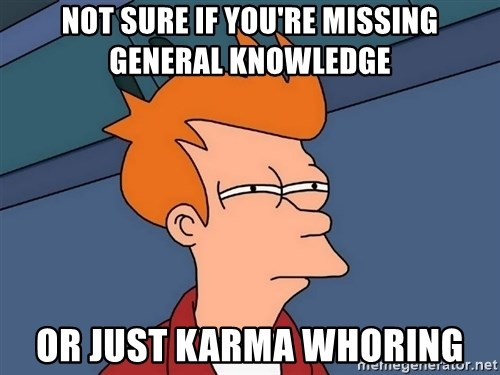 Futurama Fry - Not sure if you're missing general knowledge or just karma whoring