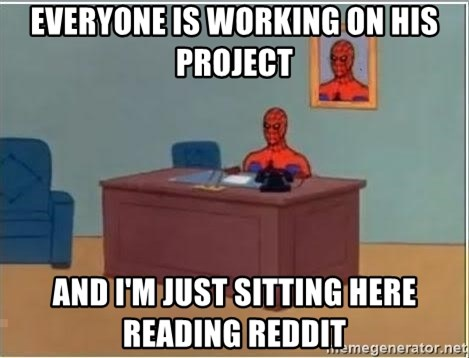 Spiderman Desk - Everyone is working on his project and i'm just sitting here reading reddit