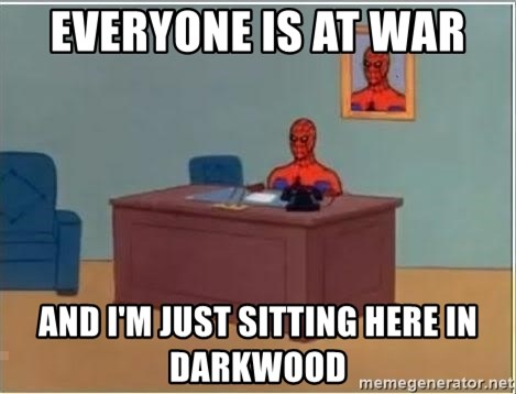 Spiderman Desk - everyone is at war  and i'm just sitting here in darkwood