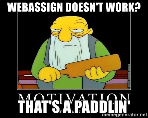 Thats a paddlin - webassign doesn't work? that's a paddlin'