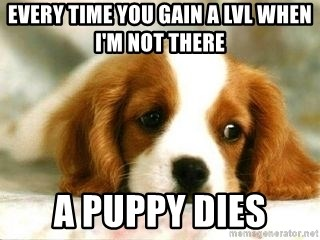 Sad Puppy - every time you gain a lvl when i'm not there A puppy dies