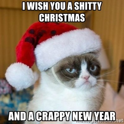 Grumpy Cat Santa Hat - I wish you a shitty Christmas and a crappy New Year