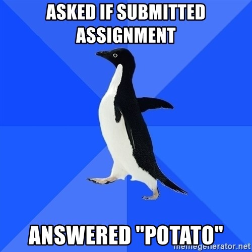 """Socially Awkward Penguin - Asked if submitted assignment answered """"potato"""""""