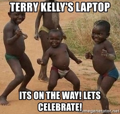 Dancing African Kid - terry Kelly's Laptop Its on the way! lets celebrate!