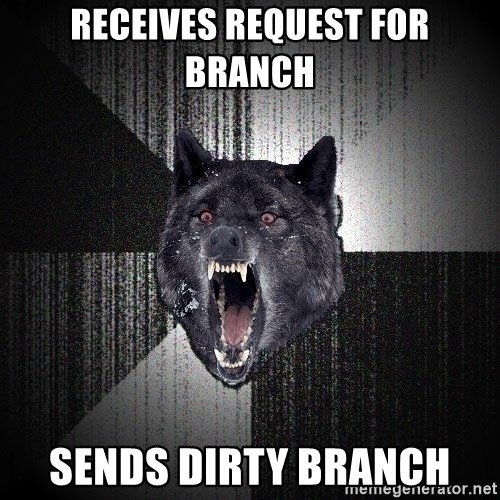 Insanity Wolf - receives request for branch sends dirty branch
