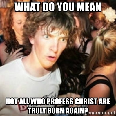 sudden realization guy - What do you mean not all who profess christ are truly born again?