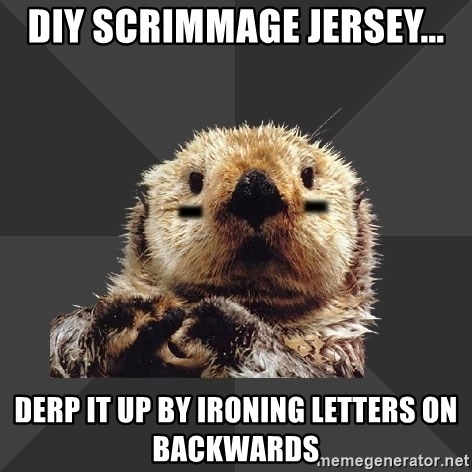 Roller Derby Otter - diy scrimmage jersey... derp it up by ironing letters on backwards