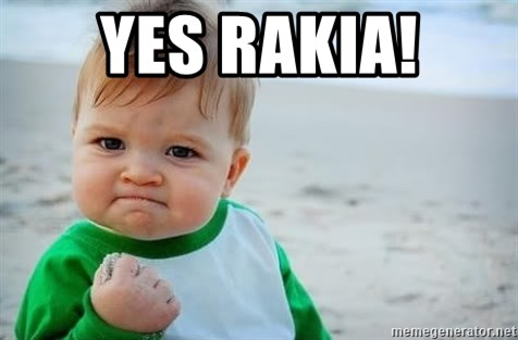 fist pump baby - Yes rakia!