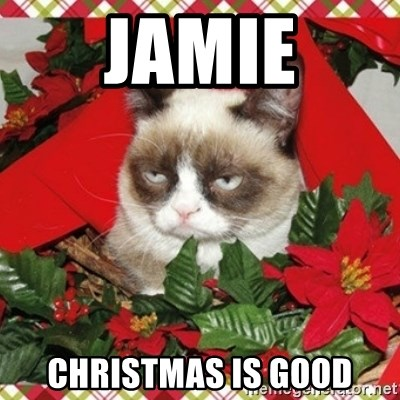 Grumpy Christmas Cat - JAMIE CHRISTMAS IS GOOD