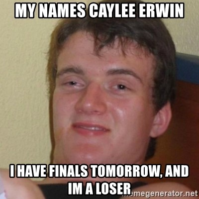 Stoner Stanley - My names Caylee erwin i have finals tomorrow, and im a loser