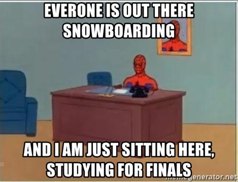 Spiderman Desk - Everone is out there snowboarding And i am just sitting here, studying for finals
