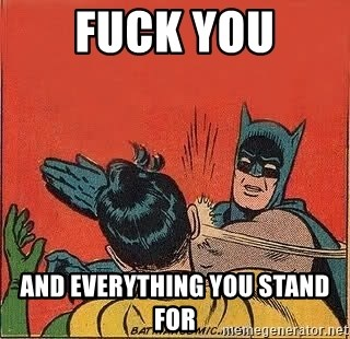 batman slap robin - Fuck you and everything you stand for