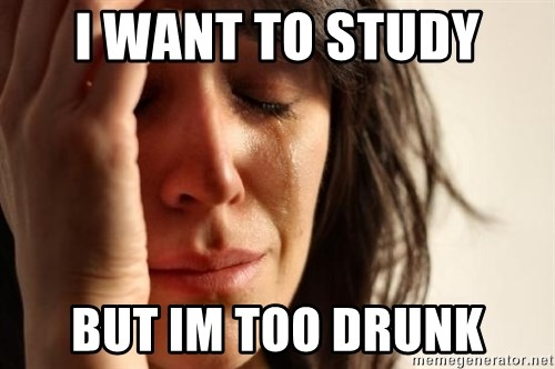 First World Problems - i want to study but im too drunk