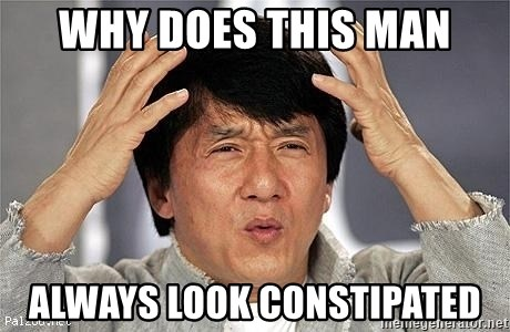 Confused Jackie Chan - why does this man always look constipated
