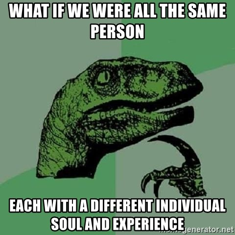 Philosoraptor - what if we were all the same person each with a different individual soul and experience