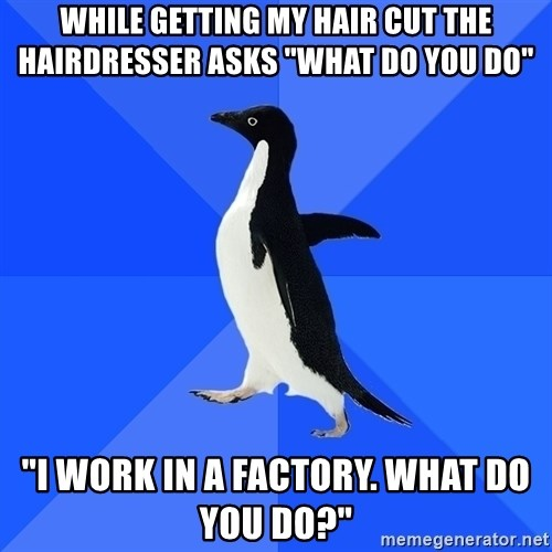 """Socially Awkward Penguin - While getting my hair cut the hairdresser asks """"What do you do"""" """"I work in a factory. What do you do?"""""""