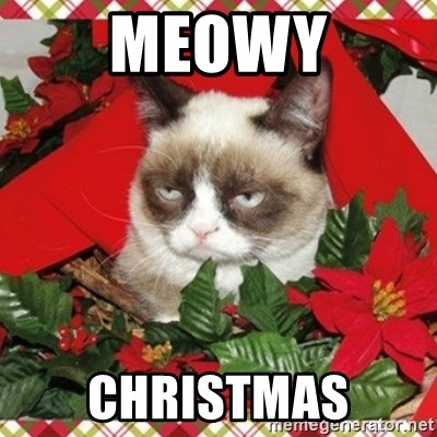 Grumpy Christmas Cat - MEOWY CHRISTMAS