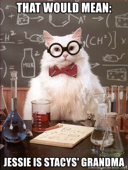 Science Cat - that would mean: Jessie is stacys' grandma