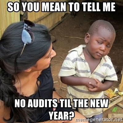 you mean to tell me black kid - So you mean to tell me no audits til the new year?