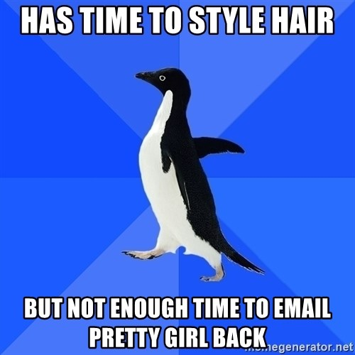 Socially Awkward Penguin - Has time to style hair But not enough time to email pretty girl back