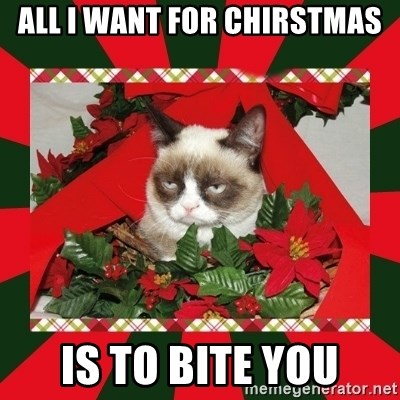 GRUMPY CAT ON CHRISTMAS - ALL I WANT FOR CHIRSTMAS IS TO BITE YOU