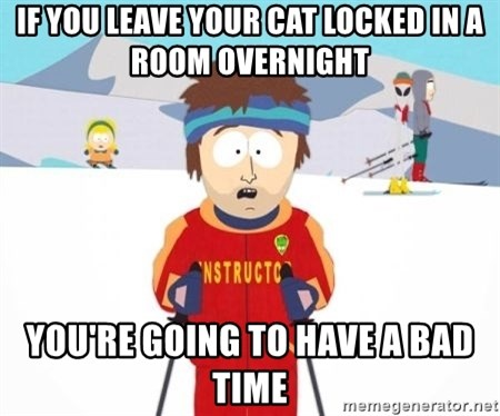 South Park Ski Teacher - If you leave your cat locked in a room overnight You're going to have a bad time
