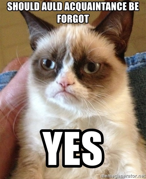 Grumpy Cat Face - Should auld acquaintance be forgot YES