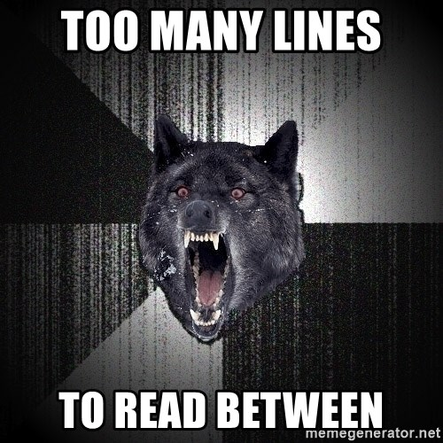 Insanity Wolf - too many lines  to read between
