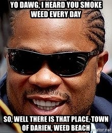 Xzibit - yo dawg, i heard you smoke weed every day so, well there is that place, Town of darien, weed beach