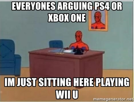 Spiderman Desk - Everyones arguing ps4 or xbox one Im just sitting here playing wii u
