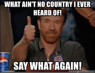 Chuck Norris Approves - WHAT AIN'T NO COUNTRY I EVER HEARD OF! SAY WHAT AGAIN!