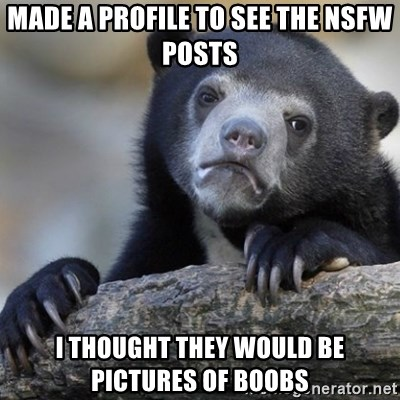 Confession Bear - made a profile to see the NSFW Posts I thought they would be pictures of boobs