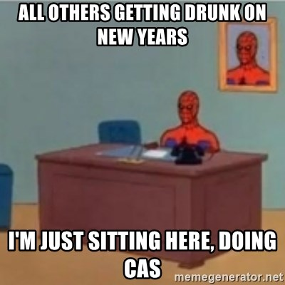 60s spiderman behind desk - All others getting drunk on New Years I'm just sitting here, Doing cas