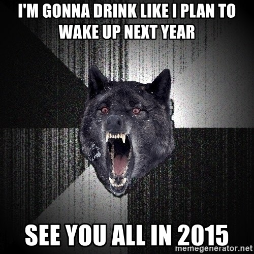 Insanity Wolf - I'm gonna drink like I plan to wake up next year See you all in 2015